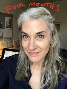 image of woman at four months gray hair transition