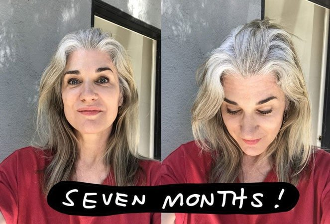 image of woman at 7 months gray hair transition