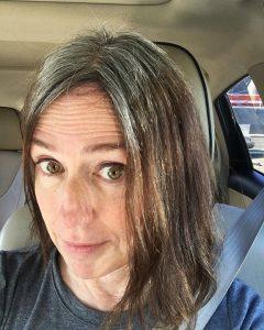 brunette gray hair brassiness blue shampoo