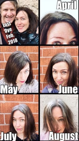 image of gray hair transition collage at 6 months of no dye
