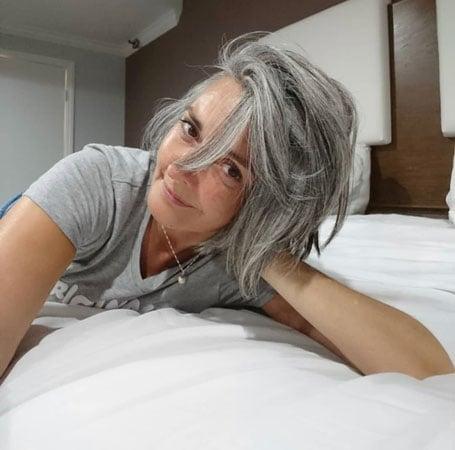image of woman gray hair bob