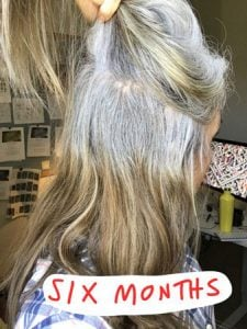 image of woman at six months gray hair transition