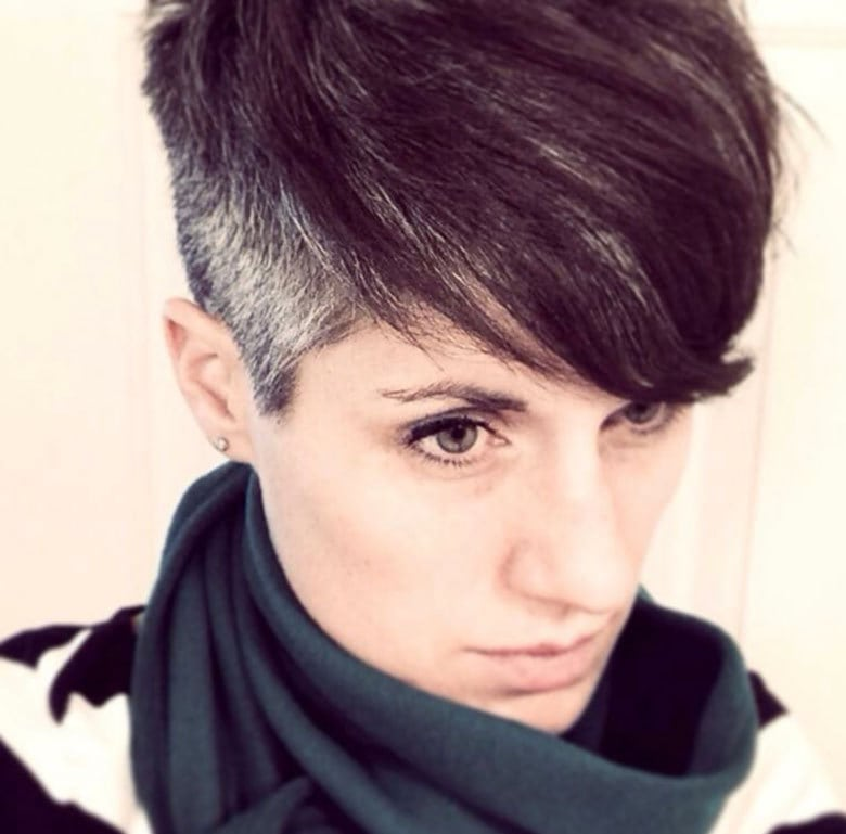 image of young woman with gray undercut