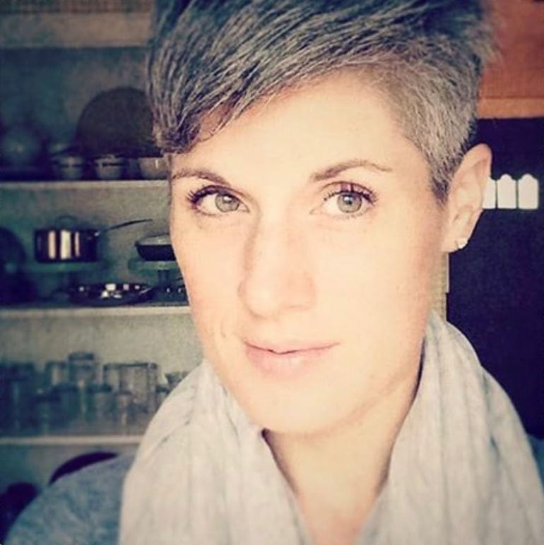 Maric's gray pixie cut grew out nicely starting at the roots.
