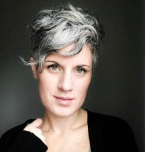Marci is pictured here rocking her short silver pixie haircut