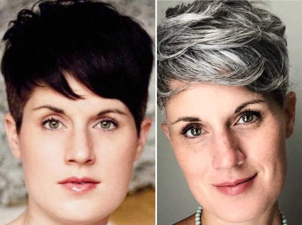 Marci's gray hair transition started with dark hair, and ended with a salt and pepper pixie cut