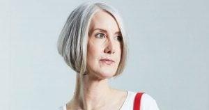 mage of woman gray bobbed hair