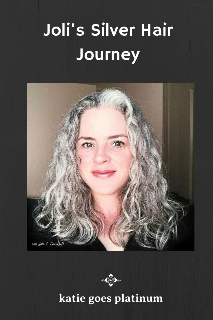 Joli's Silver Hair Journey - Joli started growing out a silver streak at age 37, and later transitioned into a lovely full head of silver curls.  She is the founder of QuickSilverHair, an all-natural hair product line for women with gray hair.