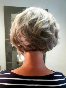 image of woman silver curly bob