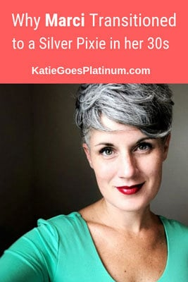 Marci didn't get many compliments on her brunette curls, but her stunning silver pixie elicits a ton! She started going gray at 15, and decided to fully transition to silver in her late 30s.  Read about her gray hair transition on the blog, and be inspired! #grayhair #grayhairtransition #silversisters