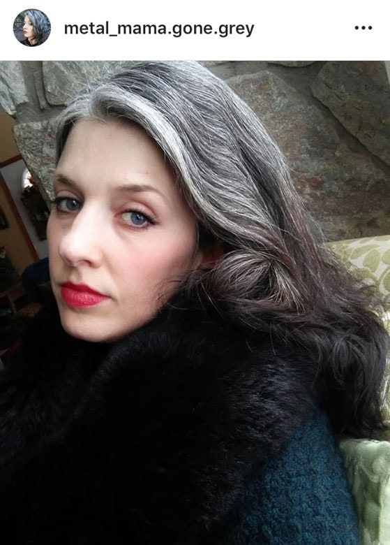 image of woman gray hair red lips