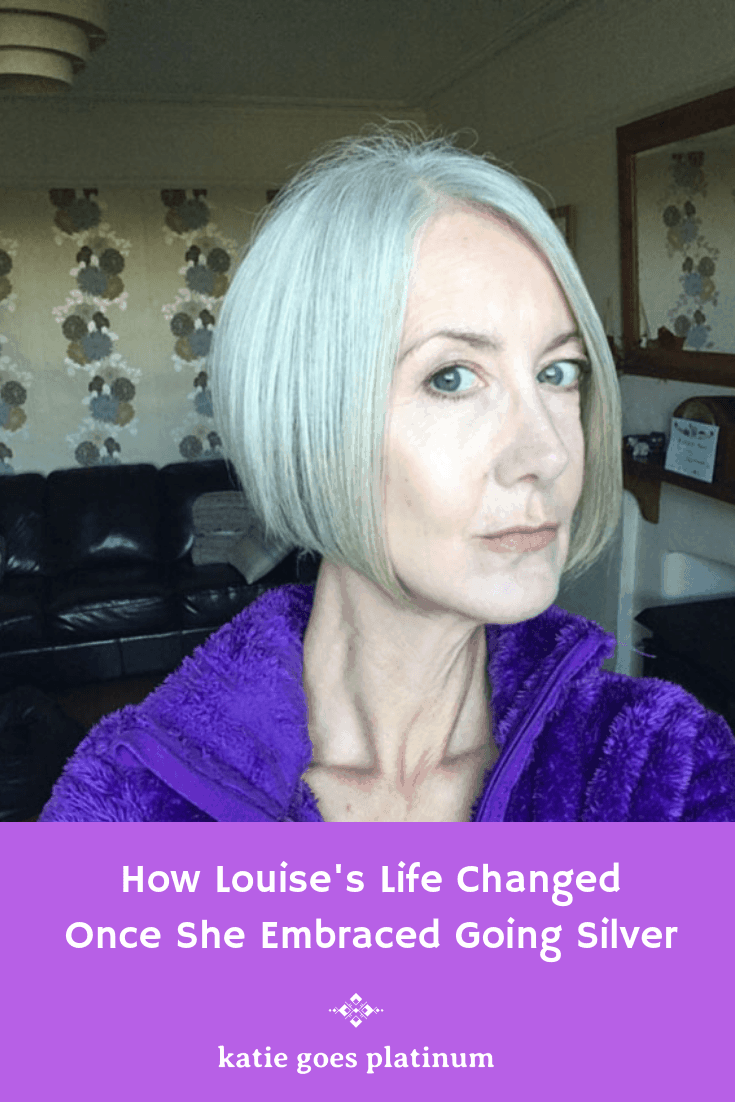 Transition Story: Louise Pendry - After years of dyeing, Louise decided to let her silvers shine by age 50, which lead to some exciting new opportunities.  #grayhair #silversisters #grayhairtransition #goinggray