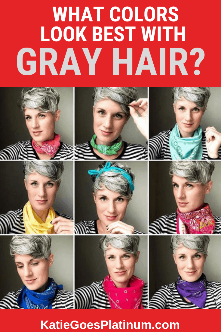When you transition to gray hair, sometimes your favorite colors no longer suit your complexion! Read this post for suggestions on how to find your new best colors, and see examples of gorgeous gray-haired women wearing a variety of colors, even some that the experts tell you won't work with gray hair! #grayhair #grombre #greyhair