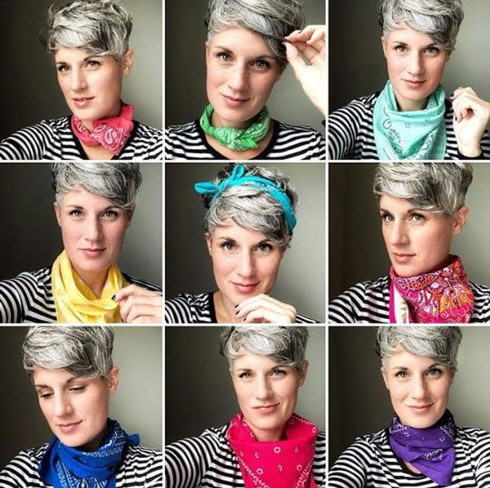 images of woman in colorful bandanas gray hair