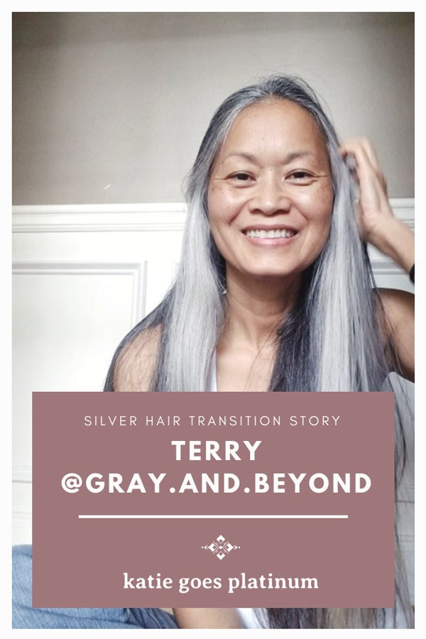 Who says gray hair is dowdy or makes a woman look old? Take one look at Terry's gorgeous long locks, and you'll see the beauty of naturally gray hair! Terry shares her transition story on the blog, and you can also follow her on Instagram @gray.and.beyond!