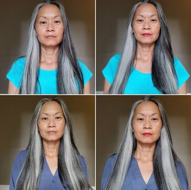 image of women with long gray hair