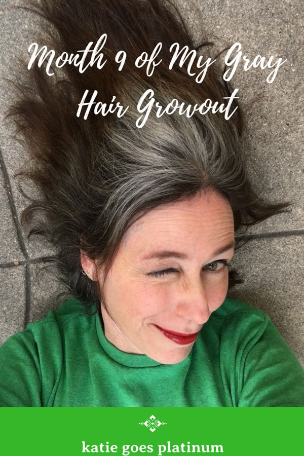 This is my 9 month cold turkey gray hair transition progress report - I estimate another year?  #grayhair #grayhairtransition #grayandproud