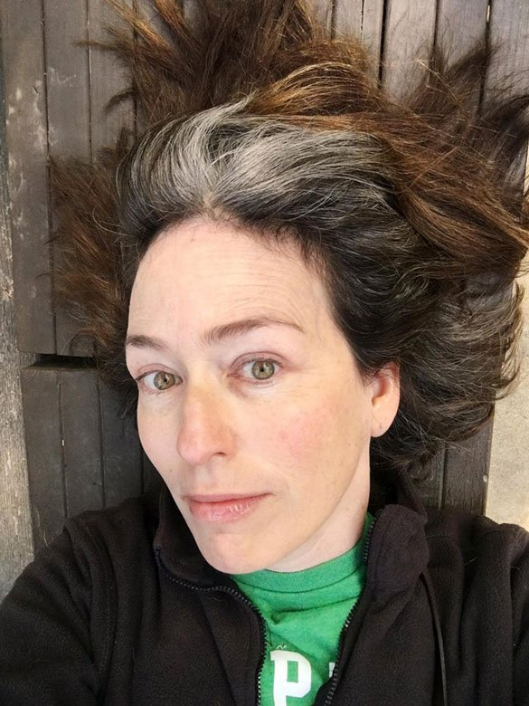 image of woman no makeup gray roots