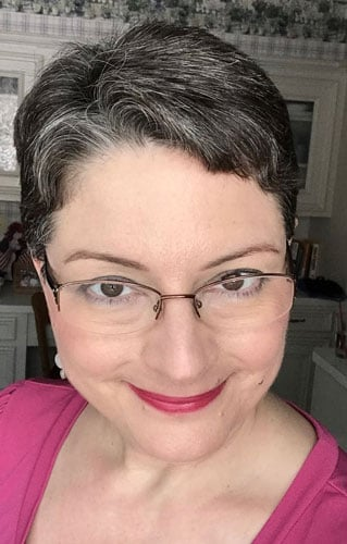 image of woman short gray pixie and pink lips