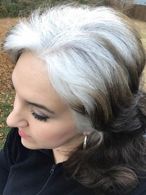 image of woman white roots and dark ends