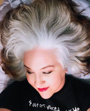 image of woman with white hair and brown ends