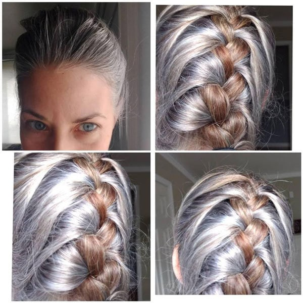 image gray hair blonde hair braids