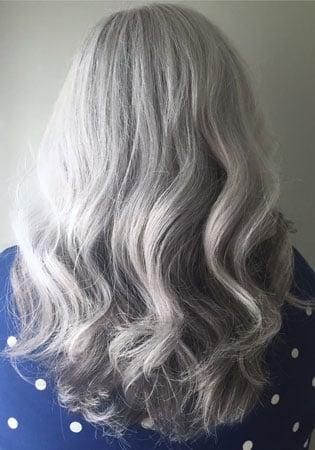 image of lauren stein's lovely gray hair btwco founder