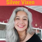 image of woman transitioning to long silver hair