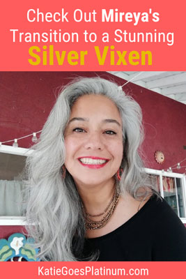 Mireya found her first gray hair at age 7; by age 42, she decided to ditch the dye and transition to long silver hair - you have to check out her stunning transition images! #grayhair #longgrayhair #greyhair