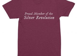 image of proud member of silver revolution shirt cranberry