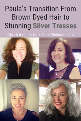 Paula Joseph transitioned to a silver sister in her late 40s, when she ditched hair dye and embraced her gray hair.  She went from a long brown bob to a gray pixie and now has gorgeous long, curly silver hair.  You have to see her transformation! #grayhair #graytransition