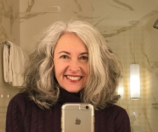image woman gray hair long bob