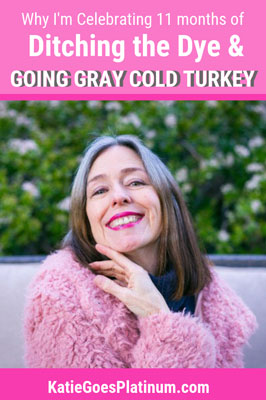 It has been 11 months since I ditched the dye and began my gray hair transition.  I share my joys & frustrations with the process in this post.  #grayhair #greyhair #grayhairtransition #greyhairprogress