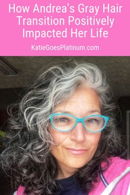 Read all about how Andrea ditched hair dye, embraced her curls, lost 80 pounds and transformed Herself into a self-confident silver sister! Transitioning to gray hair really made a positive impact on her life! #grayhair #greyhair