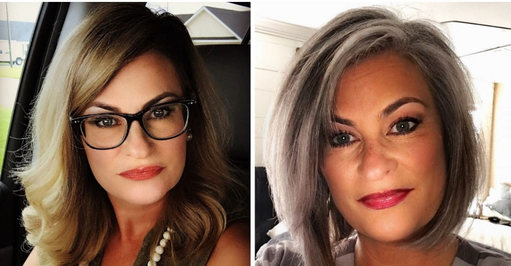 image of beautiful woman before and after gray hair