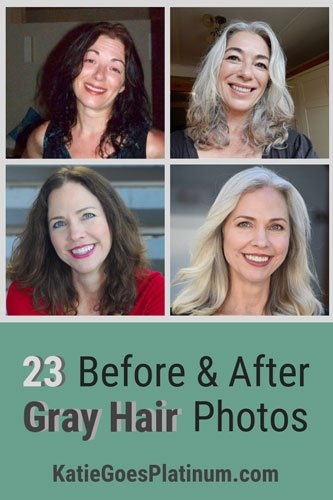 Check out these 23 photos of women before & after going gray and see the brightening effect that going gray has on one's complexion! It's one of the great advantages of embracing your gray hair.  #grayhair #greyhair #grayhairtransition #goinggray
