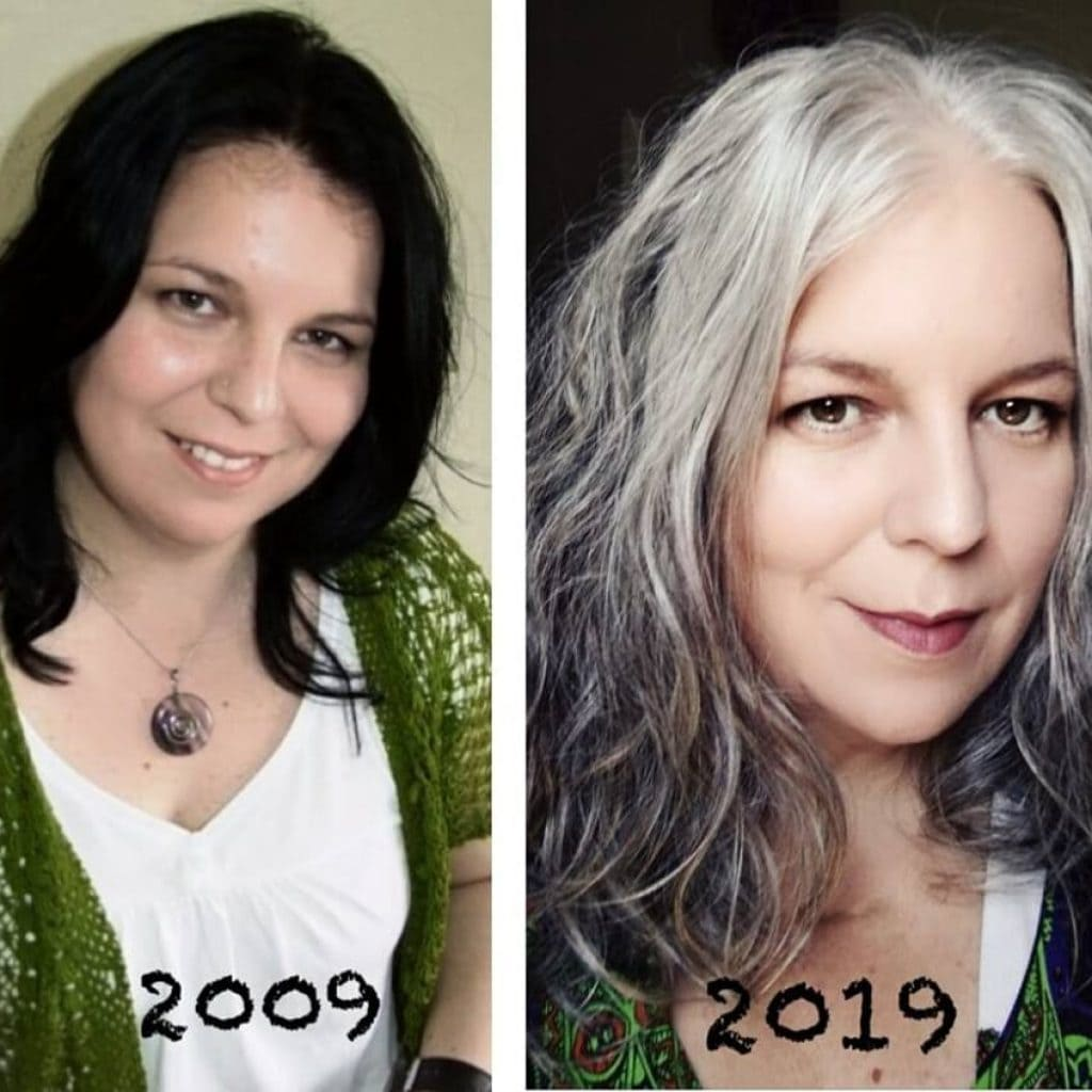 image of woman before and after going gray