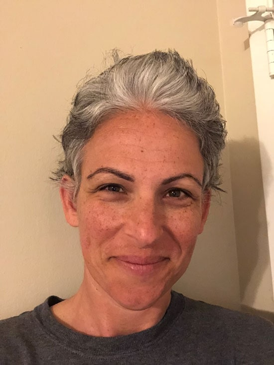 image of woman gray pixie hair