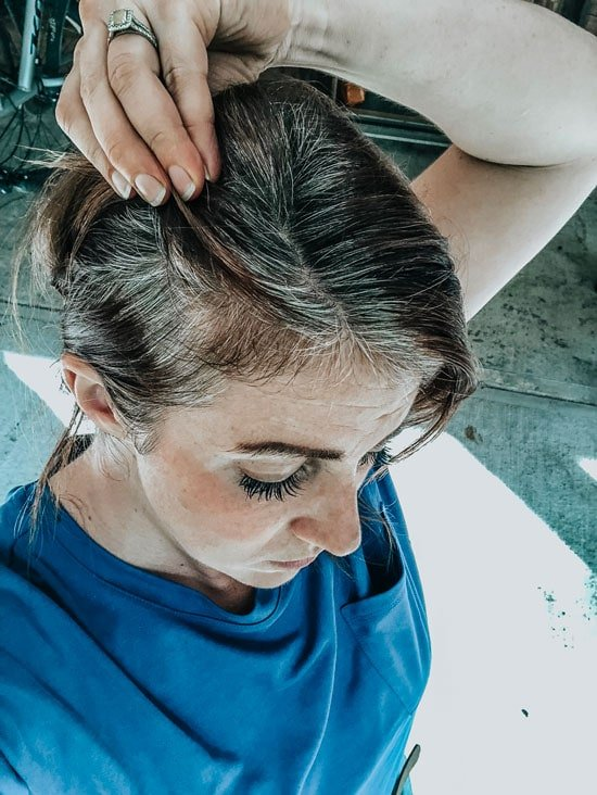 image of woman with gray roots