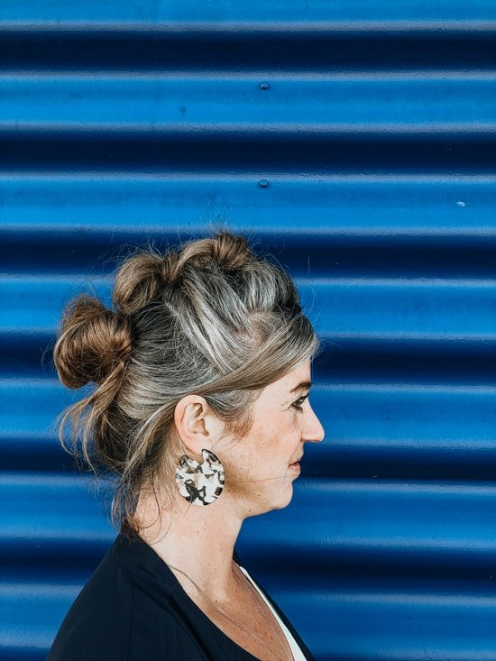 image of woman with gray funky hairdo