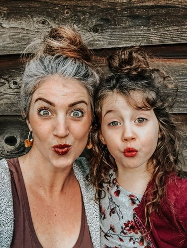 image of fun mama and child