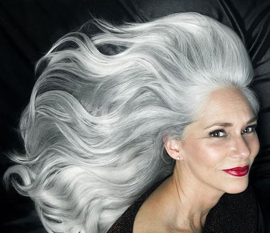 image of beautiful woman stunning silver long hair