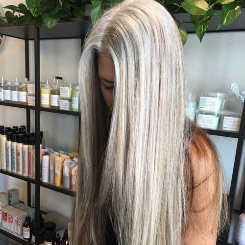 image of woman with gray hair salon process