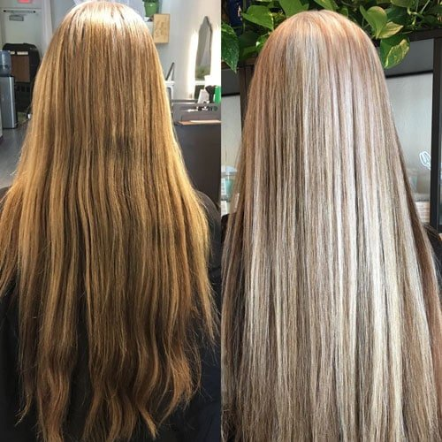 image of gray blended hair before and after