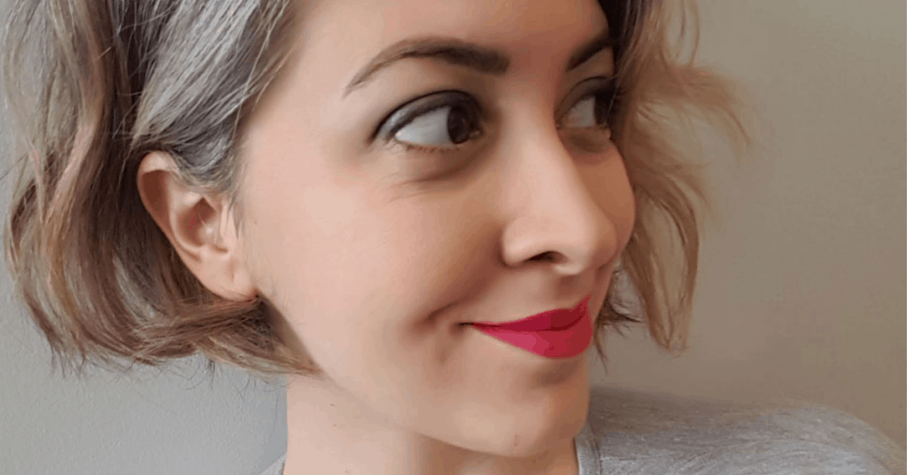 image of young woman grey hair