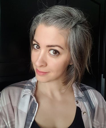 image of young woman with grey hair