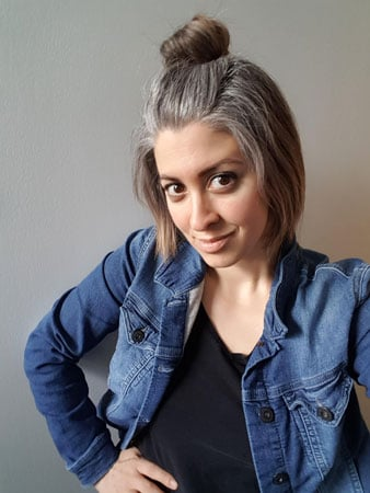image of young woman naturally grey hair