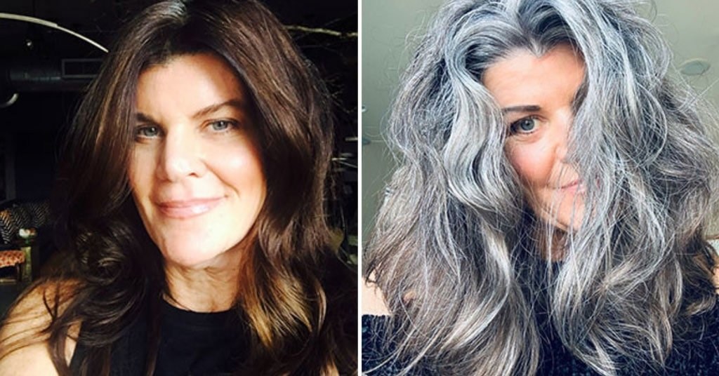 image of before and after gray hair woman