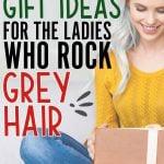 image of woman gray hair gift box