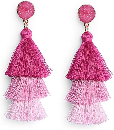 Colorful pink ombre tassle earrings